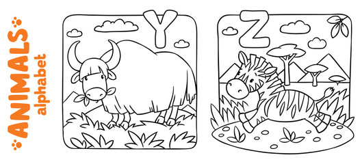 Animals alphabet or ABC. Coloring book set