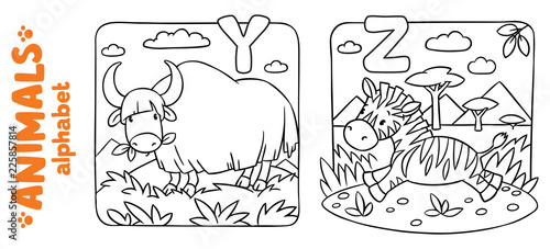 Animals alphabet or ABC. Coloring book set\