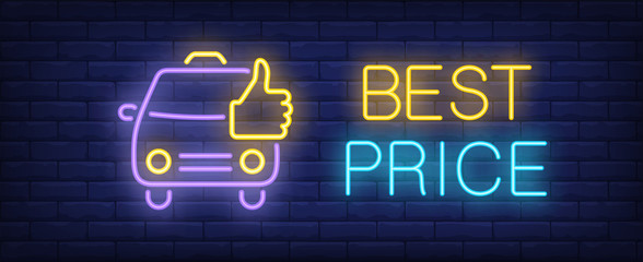 Best price neon text with taxi cab and thumb up. Taxi service, transportation and advertisement design. Night bright neon sign, colorful billboard, light banner. Vector illustration in neon style.