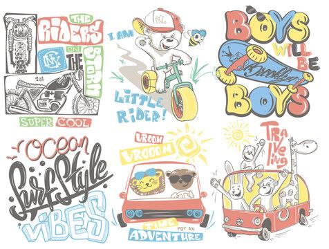 Kids T-Shirt Designs Set vector cartoon illustration.