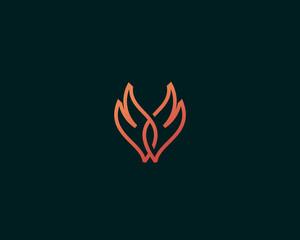 Wings of fire vector logo. Line fire grill logotype.