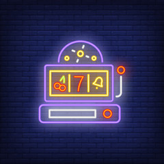 Gambling playing machine neon sign. Glowing neon playing slot machine. Night bright advertisement. Vector illustration in neon style for gambling and casino game.