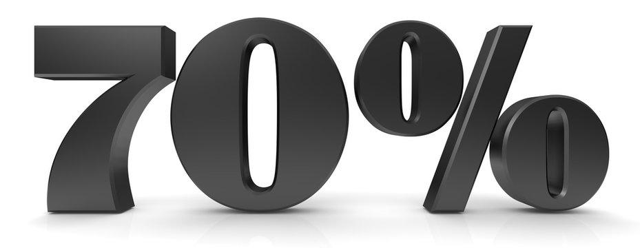 70 % percent sign percentage 3d black symbol icon isolated