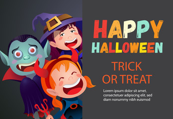 Happy Halloween trick or treat multicolored poster. Inscription with cartoon characters of devil girl, witch and vampire on dark gray background. Can be used for invitations, presentations