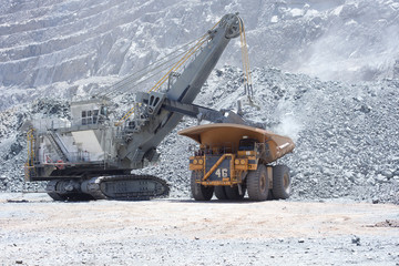 A backhoe loading a dump truck in an open pit copper mine