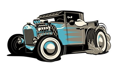 Cartoon retro hot rod isolated on white background Wall mural