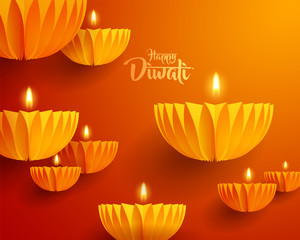 Happy Diwali. Paper graphic of Indian Diya oil lamp design. The Indian festival of lights.