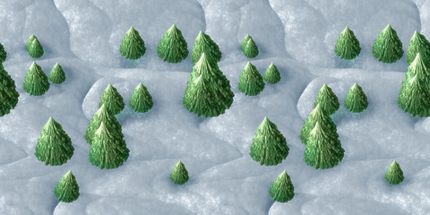 seamless winter scenery background with christmas trees