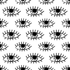 Black and white Evil eyes seamless pattern2