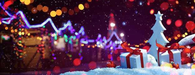 Christmas Fair with Street Festive Light. Holiday concept