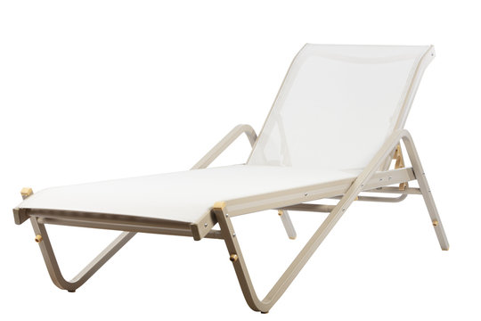 metal sunbed on white background