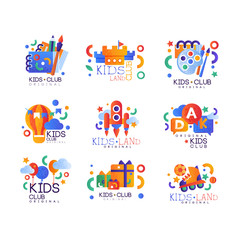 Kids club logo original set, creative labels templates, playground, entertainment, science education curricular club badges vector Illustration on a white background