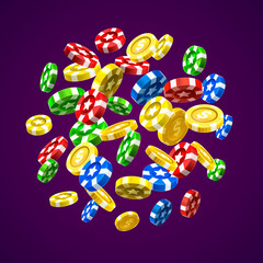 Flying chips and coins on the purple background. Vector illustration