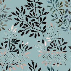 Poster de jardin Empreintes Graphiques Watercolor seamless pattern - tree branches filled with minimal, doodle texture