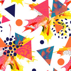 Poster Grafische Prints Watercolor maple leaf, triangles with minimal, grunge textures, splashes