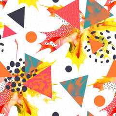 Fototapeten Grafik Druck Watercolor maple leaf, triangles with minimal, grunge textures, splashes