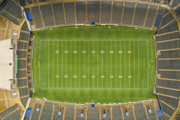 Aerial overhead photo of a football stadium no logos