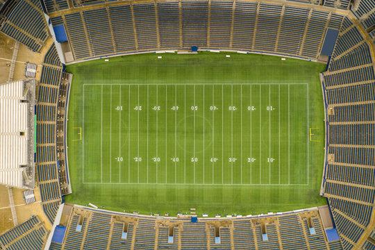 Aerial overhead photo of a football stadium no logos