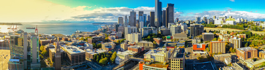 Aerial panoramic photo of Downtown Seattle