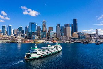 Wall Mural - Ferry in Seattle aerial image