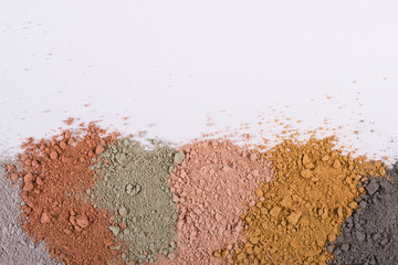Textural gradient from different cosmetic clay mud powders Fototapete
