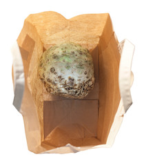 top view of celeriac in a paper bag isolated
