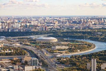 above view of Luzhniki arena stadium in Moscow