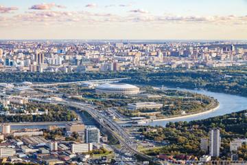 view of Luzhniki arena stadium in autumn twilight