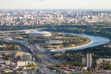 aerial view of Luzhniki arena stadium in Moscow