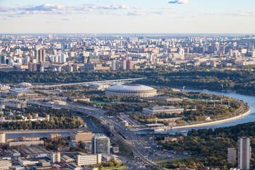 view of Luzhniki stadium and southeast of Moscow