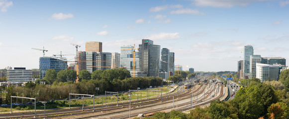 Garden Poster Amsterdam Daytime panoramic skyline of Zuidas the business and financial area of Amsterdam, Netherlands