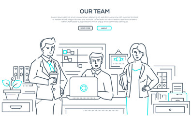 Our team - modern line design style banner