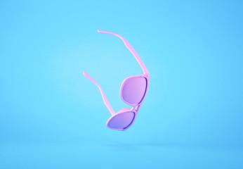 Pink sunglasses flying on pastel blue background. Minimal summer concept.