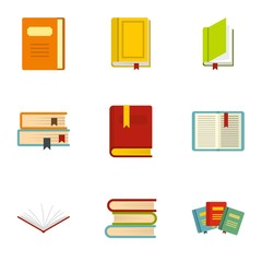 Books icons set. Flat illustration of 9 books vector icons for web