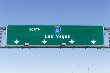 Aluminium Prints Las Vegas Las Vegas Interstate 15 freeway sign in the Mojave desert near Barstow, California.