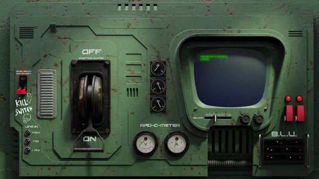 3D Render SciFi Retro Control Panel