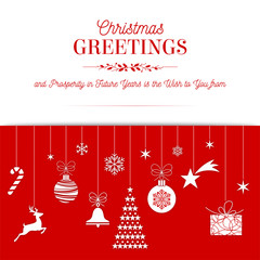Christmas greetings red card design