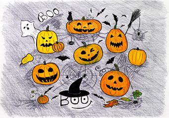 Halloween concept. Hand drawing by coloured pencils and marker.