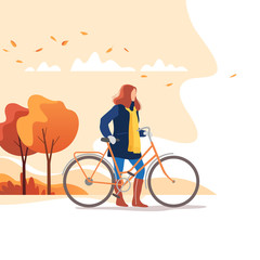 Autumn season. Young female walking with bicycle in a park. Healthy lifestyle and recreation leisure activity. Vector illustration.