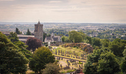 View of the cemetery behind the medieval church of Holy Rude, of great importance in the coronation of Scottish kings, Stirling, Scotland.