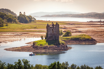 Castle Stalker located on an islet of Loch Laich, Argyll, Highlands, Scotland