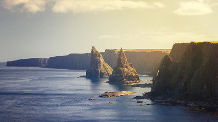 Sunset at Stacks of Duncansby, observatory and bird farm, Duncansby Head, John o 'Groats, Caithness, Scotland