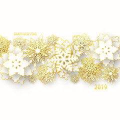 Vector Merry Christmas and Happy New Year greeting card design with 3d white and gold layered paper cut snowflakes on white background. Seasonal Christmas and New Year holidays luxury paper banner