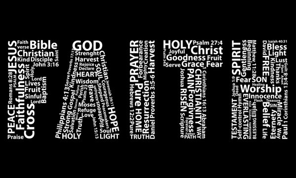 Word faith in white written with christian words on black background. Christian background