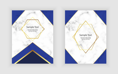Blue marble texture with golden polygonal lines. Modern geometric template design for wedding, invitation, poster, banner, flyer.