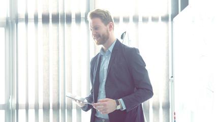 Redhead businessman have presentation