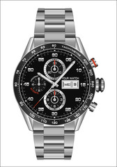 Realistic watch clock chronograph steel black face for men design luxury on white background vector illustration.