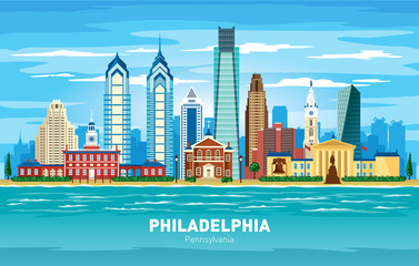 Fototapete - Philadelphia Pennsylvania city skyline color vector silhouette