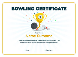 Modern first place bowling certificate diploma with a gold winning cup and place for your content. Isolated on light background with transparent shadows.