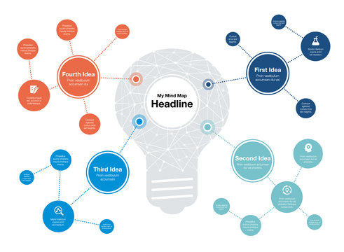 Infographic for mind map visualization template with light bulb as main symbol and colorful circles, isolated on light background. Easy to use for your website or presentation.